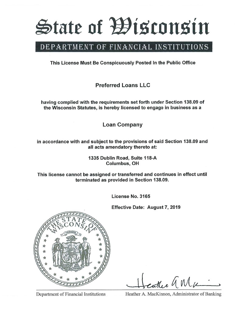 Wisconsin loans licence